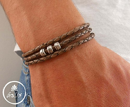 Handmade Wrap Braided Brown Genuine Leather Bracelet For men Set With Silver Plated Beads By Galis Jewelry