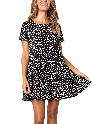 Polka Dot Ruffle Legging - M MEIION Women's Summer Sleeveless Polka Dot Ruffle Hem Swing Dress with Pockets Black (M, (B) Black)