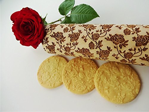 (ROSES WREATH embossing rolling pin. Wooden embossing rolling pin with roses. Wild rose. Summer flower. Floral rolling pin. Mother's Day gift)