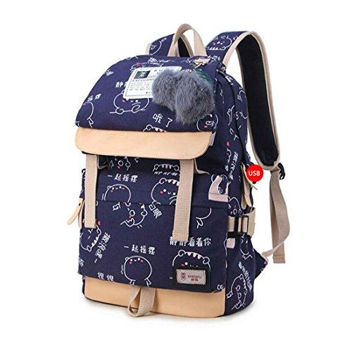 Bags Teenage Canvas School for Plush Backpacks Chinese C1 Printing Women Backpack Characters Girls Cute C1 Ball Bag Bookbag vqRC5wI