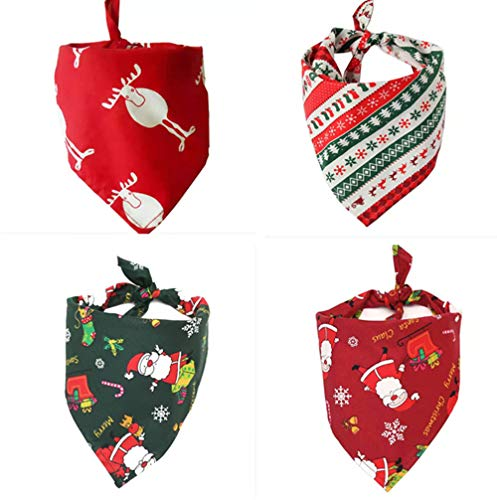 Yumonio 4 Pack Christmas Dog Bandanas Pet Bandana Triangle Scarf Washable Neckerchief Snowflake Accessories Bibs for Dog…
