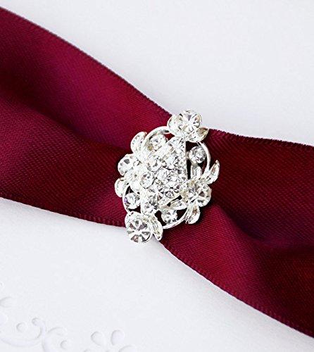10 pcs Rhinestone Buckle Wholesale Buckle Crystal Slider Silver Wedding Invitation Wedding Supplies Napkin Ring BK061