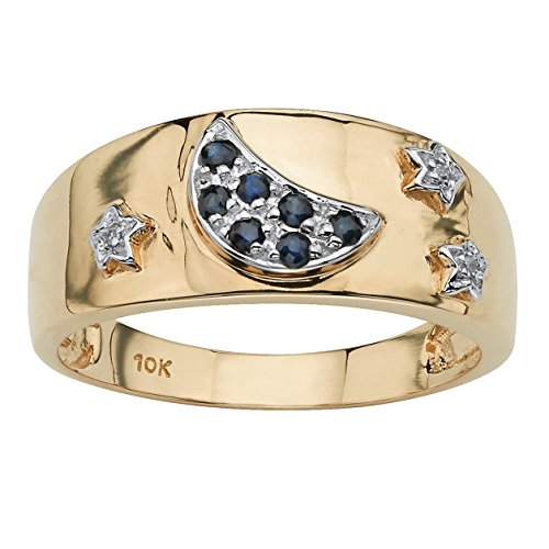 - Round Blue Genuine Sapphire Diamond Accent 10k Gold Moon & Stars Ring