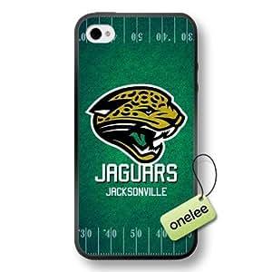 NFL Jacksonville Jaguars Team Logo iPhone 4/4S Black Soft Rubber (TPU) Case Cover - Black by kobestar