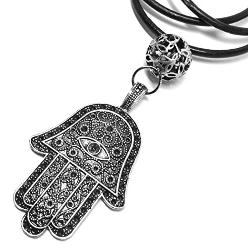 Extra Large Hamsa Hand Evil Eye Protective Amulet Leather Necklace