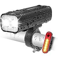 EBUYFIRE Oplaadbare fietslamp, USB, 2000 lumen, ledlampen voor en achter, 3 modi, IPX5, waterdicht, veiligheidslicht…