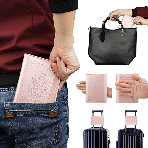 GDTK RFID Blocking Leather Passport Holder Cover Case Travel Wallet Elastic Strap (Rose Gold)