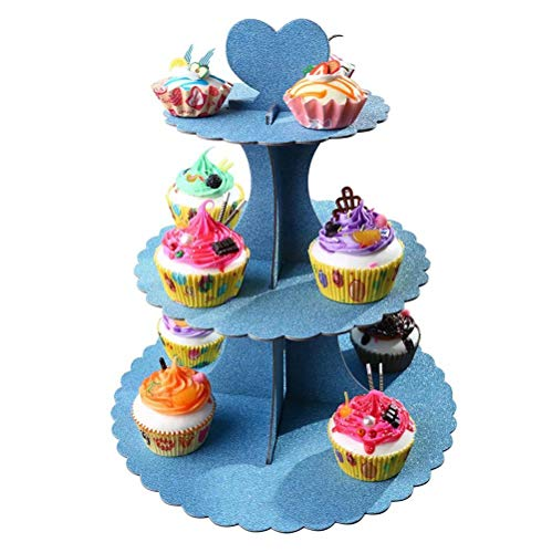 3 Tier Round Cardboard Cupcake Stand, Assembly Dessert Tower Treat Stacker Pastry Serving Platter Food Display Stands Cakes Holder|Blue