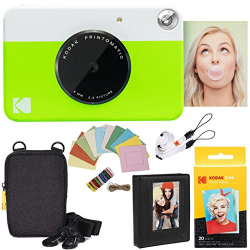 Kodak Printomatic Instant Camera (Green) Deluxe Bundle + Zink Paper (20 Sheets) + Deluxe Case + Photo Album + Hanging Frames + Comfortable Neck Strap