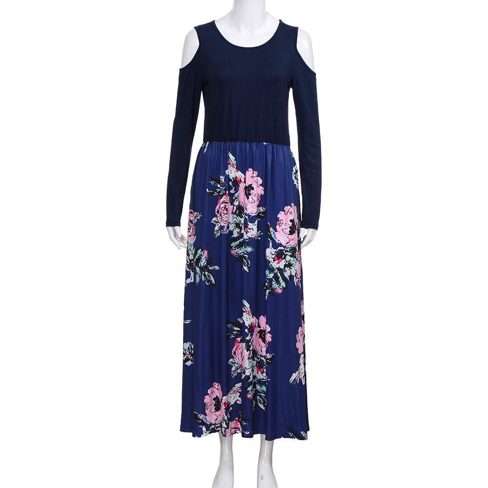 ❤ Vestido Elegante para Mujer de Hombro frío, Vestido Largo de Manga Larga Estampado Floral con Bolsillo Absolute: Amazon.es: Ropa y accesorios