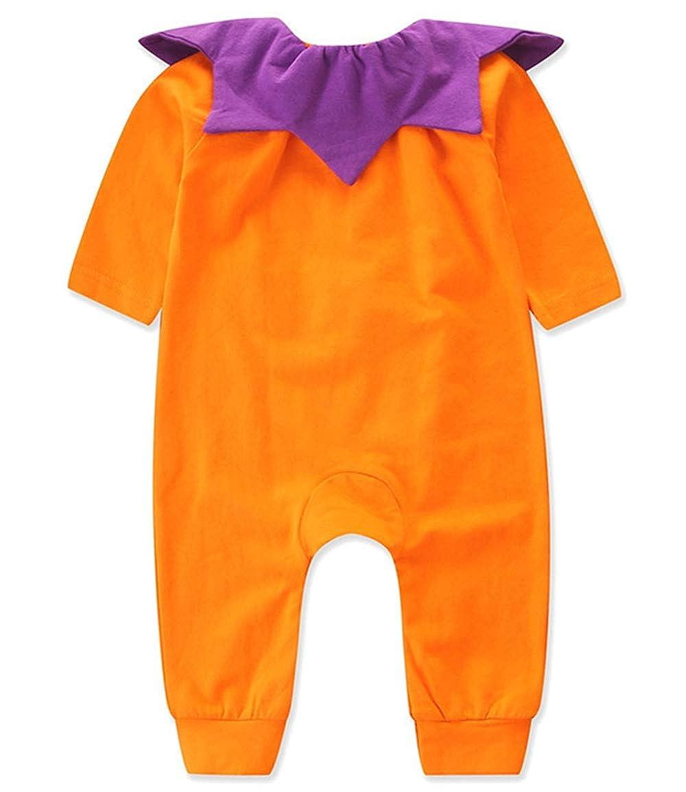 Newborn Baby Boy Girl 3D Cartoon Pumpkin Romper Jumpsuit Kids Cute Ruffled Collar Halloween Costume