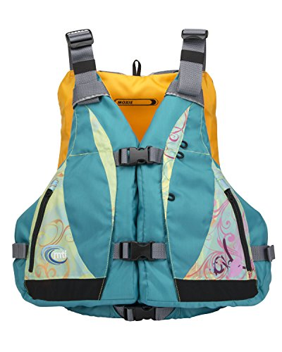 MTI Adventurewear Women's Moxie PFD Life Jacket with Adjust-a-Bust, Turquoise/Caribe Print, Medium/Large
