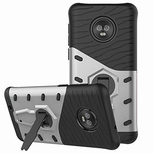 Moto G6 Case, Moto G (6th Generation) Case, Telegaming Dual Layer Armor Case With 360 Degree Rotating Kickstand Shock Absorption Protective Hard Back Cover For Motorola Moto G6 5.7 Inch Silver Commerce Low Back Swivel