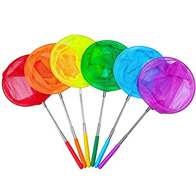 Aneco 6 Pack Telescopic Bug Net Colorful Butterfly Nets Catching Insects Fishing Nets Outdoor Tools Extendable from 14.5 Inches to 33.8 Inches: Toys & Games