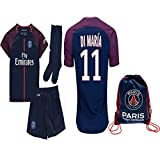 iTop Case Kid/Youth Paris Saint-Germain PSG FC 2017 2018 17 18 Replica Home & Away Jersey of Neymar Jr, Cavani & Di Maria (Di Maria Home, Size 28 (11-13 Years Old))