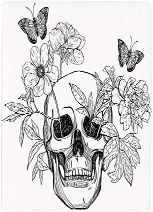 壁紙 絵画風ポスター 死んだ装飾の日、花が咲くと蝶の頭蓋骨ヴィンテージゴシックプリント、黒と白40x60cm シール 模様替え 剥がせる ヨーロッパ 風景 景色 海 お洒落 で 可愛い 大きい サイズ プレゼント