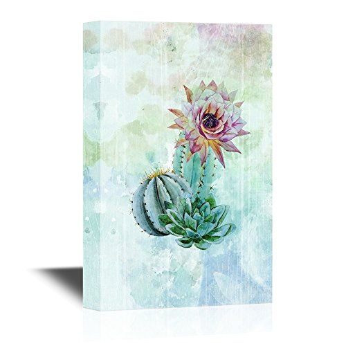 Cactus on Abstract Watercolor Background