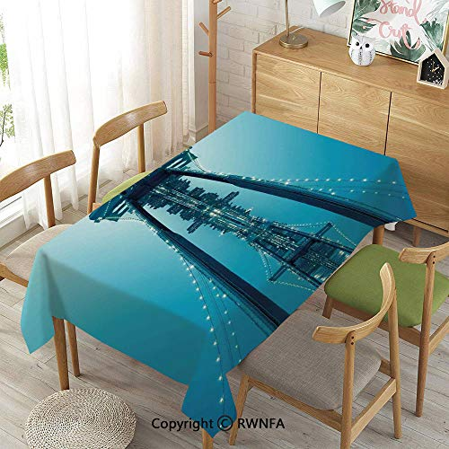 (Homenon 100% Polyester Tablecloths for Rectangle Tables,NYC Landscape Manhattan Skyline Panorama Monochrome Picture Modern Home Artwork,Waterproof Wrinkle Resistant,Blue White,55