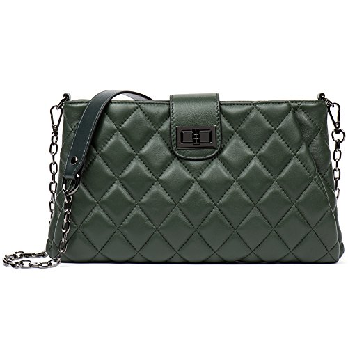 Mother's Day Gift Women Real Leather Cross Body Bag Lambskin Quilted Shoulder Bag Small Handbag Purse Scale-Dark Green