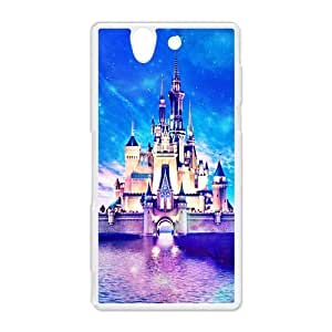 Cute Night Scene Cartoon Disney Castle Printed Hard Protective Plastic Back Case Cover for Sony Xperia Z Perfect as Christmas gift(3)