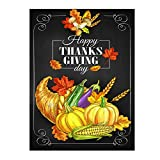 Happy Thanksgiving Day Turkey Pumpkin Maple Leaves Double Sided House Flag Garden Banner 28'' x 40'', Cornucopia Autumn Fall Horn Of Plenty Harvest Garden Flags for Anniversary Yard Outdoor Decoration