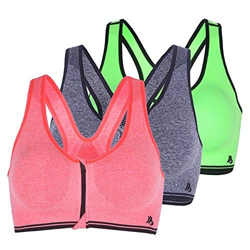 Uskincare 2/3 Pack Sujetador Deportivo Deporte Mujer Chica sin Aros Cremallera Derantera 3Pack3-Naranja+Gris+Verde Fluorescentes