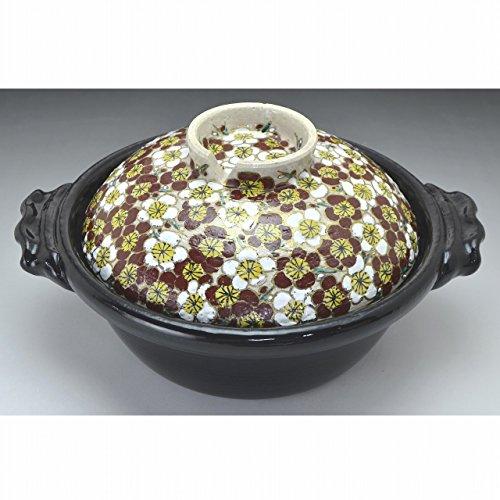 Kiyomizu-kyo yaki ware. Japanese Donabe earthen pot Plum with a sheet for IH. Ceramic. kymz-NZU1102