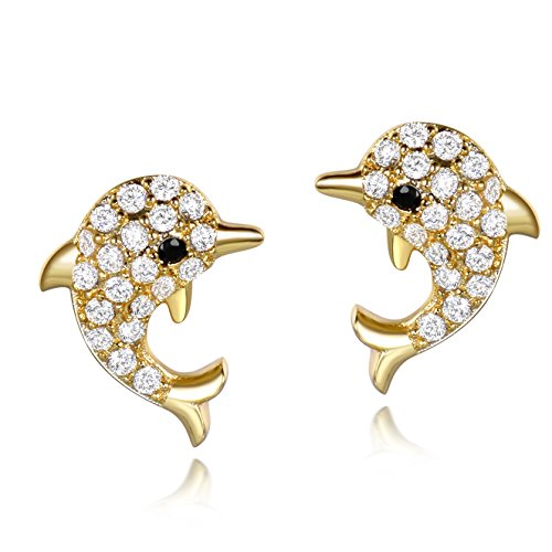 SELOVO Lovely Cute Dolphin Huggie Studs Earrings Gold Tone Cubic Zirconia (Dolphins Gold Ring Tone)