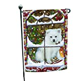 Please Come Home For Christmas American Eskimo Dog Sitting In Window Garden Flag
