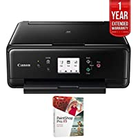 Canon PIXMA TS6020 Compact Wireless All-in-One Auto Duplex Printer Black (1368C002) with PC Treasures Corel PaintShop Pro X8 & 1 Year Extended Warranty