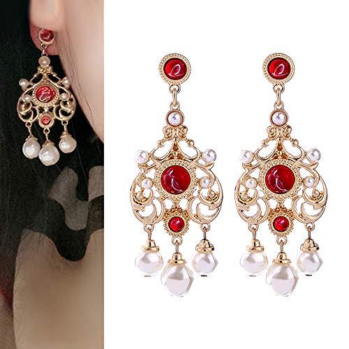 (Vintage Bride Pearl Earrings In Baroque Style Freshwater Pearl Drops Earrings Wedding Dangle Earrings (Red))