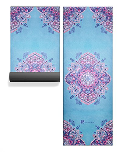 "Resveralife Mandala Yoga Mat | Luxury Non-Slip 69"" Long Yoga Mat, 4mm Thick Yoga Mats Used as Meditation Mat and Exercise Mat for Pilates, Gym, Workout, Home 