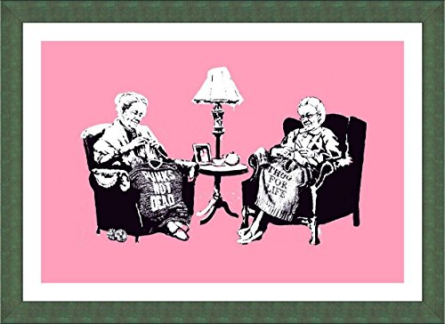 Alonline Art - Old Women Knitting Banksy Green Framed Poster Print on 100% Cotton Canvas on foam board - Ready To Hang Paintings Oil Painting Canvas