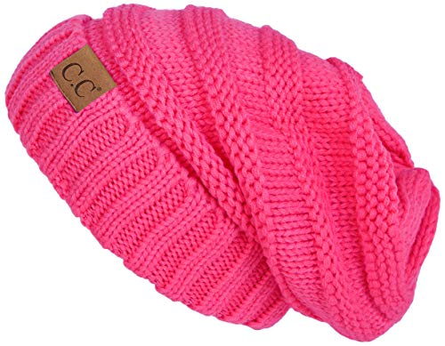 Funky Junque H-6100-80 Oversized Slouchy Beanie - Candy Pink (Hot Crochet Pink Beanie)