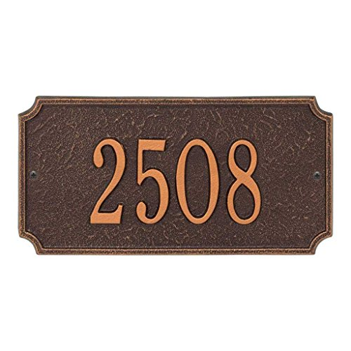 Comfort House Metal Address Plaque House Number Sign # P2834 Cast Aluminum - Color choices black with gold, green, antique brass, red, silver, white, antique copper, bronze, oil rubbed bronze, pewter by Comfort House