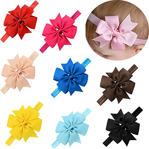 LQSmile Baby Girl's Beautiful Elastic Hair Hoops Headbands with Hair Bow for Take Photograph by LQSmile
