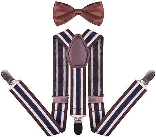 Childrens Kids Suspender and Pre Tied Bow Tie for Girls Boys Pants Braces - Braces Pants