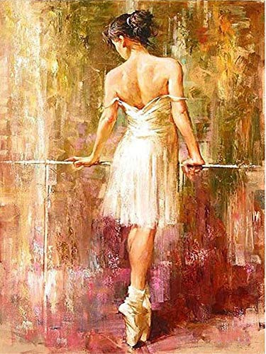 ABEUTY DIY Paint by Numbers for Adults Beginner - Ballet Girl Naked Back 16x20 inches Number Painting Anti Stress Toys (Wooden - Blossom Ballet