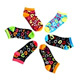 crazy color socks - Womens Leopard Pattern No Show Socks Neon Color Pack of 6 Funny Low Cut Socks