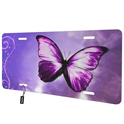 Beabes Purple Butterfly Front License Plate Cover,Floral Swirls Background Decorative License Plates for Car,Aluminum Novelty Auto Car Tag Vanity Plates Gift for Men Women 6x12 Inch: Automotive