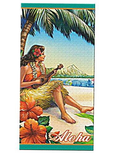HAWAIIIAN VINTAGE HULA GIRL DANCER BEACH TOWEL & BEACH BAG TOTE GIFT SET (ships priority mail) -