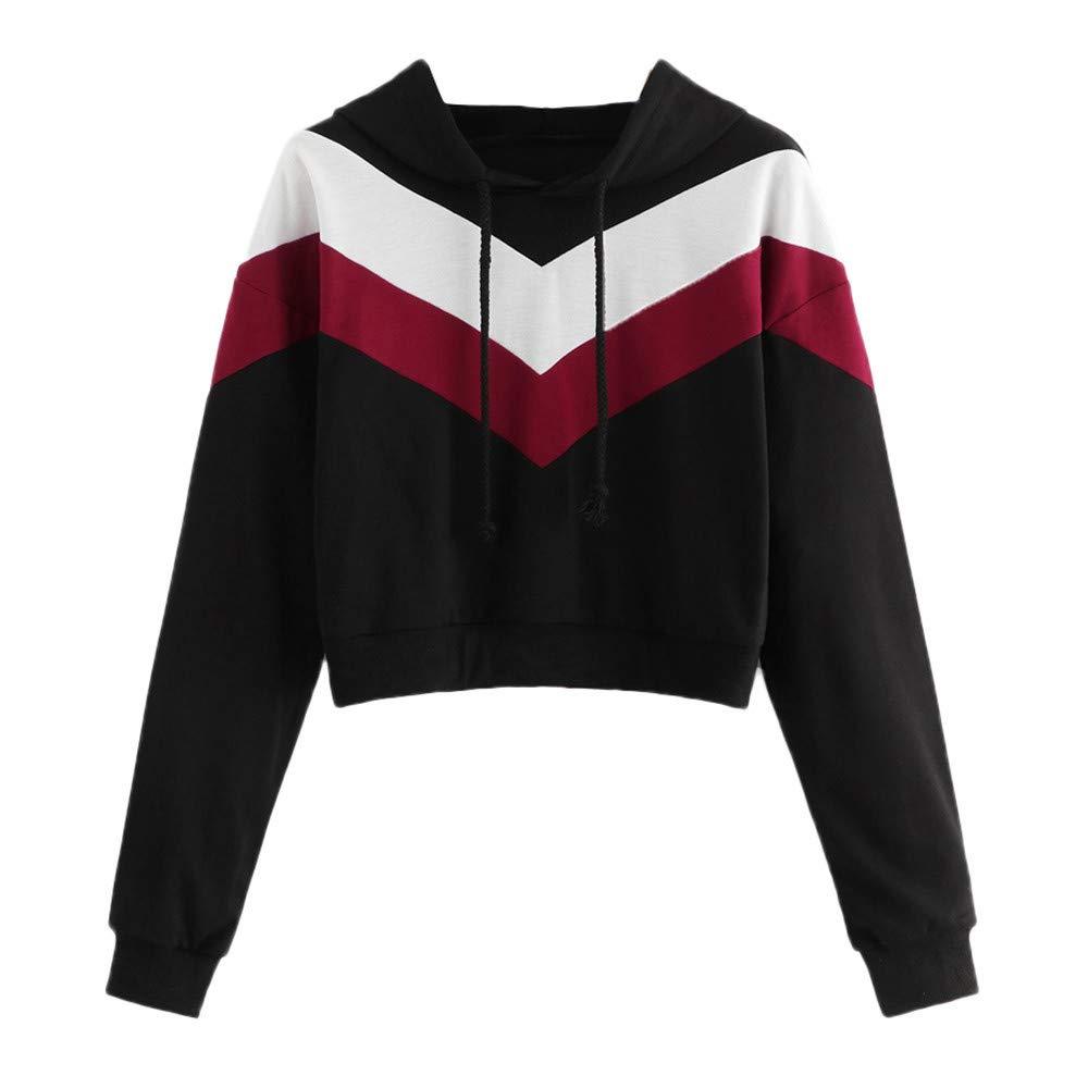 Kapuzenpullover Damen Langarmshirt Bluse Sweatshirt Stitching Patchwork Langarm Hoodie Sweatshirt mit Kapuze Pullover Tops Bluse ABsoar