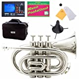 Image of Mendini MPT-N Nickel Plated Bb Pocket Trumpet