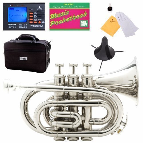 (Mendini MPT-N Nickel Plated Bb Pocket Trumpet + Tuner, Case, Stand, Mouthpiece, Pocketbook & More)