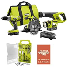Ryobi P883 (4-Piece)18-Volt ONE+ Lithium-Ion Cordless Super Combo Kit Bundle includes Drill/Driver, Reciprocating Saw, Circular Saw, Worklight, Drill Bit Set, Charger, (2) Batteries, Woodworking Book