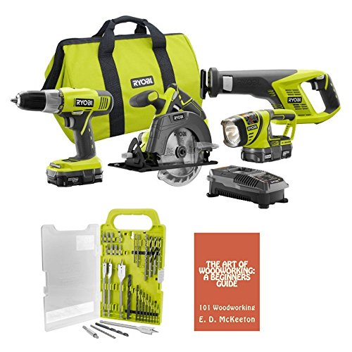 Ryobi P883 (4-Piece)18-Volt ONE+ Lithium-Ion Cordless Super Combo Kit Bundle includes Drill/Driver, Reciprocating Saw, Circular Saw, Worklight, Drill Bit Set, Charger, (2) Batteries, Woodworking Book (Cordless Drill Set Ryobi)