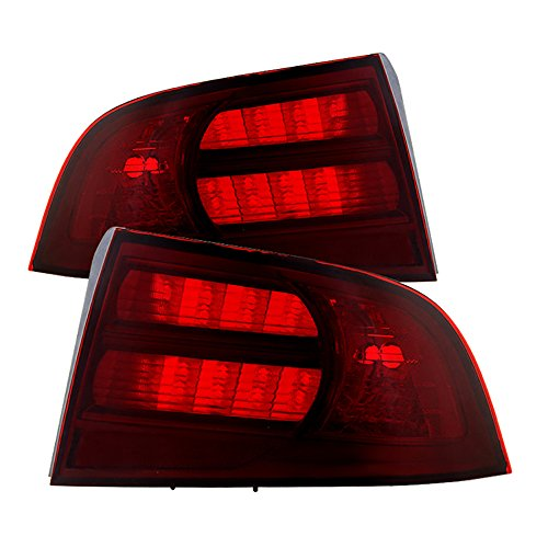 VIPMOTOZ Smoke Red Lens OE-Style Tail Light Lamp Assembly For 2004-2008 Acura TL, Driver & Passenger Side