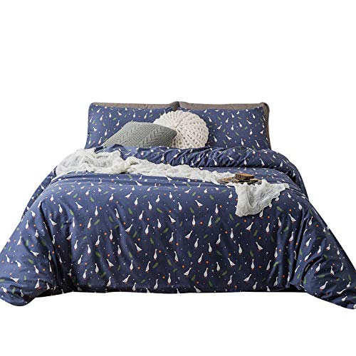 YuHeGuoJi 3 Pieces Duvet Cover Set 100% Cotton Navy Blue King Size Duck Pattern Bedding Set 1 Cute Animal Print Duvet Cover with Zipper Ties 2 Pillowcases Hotel Quality Soft Breathable Easy Care