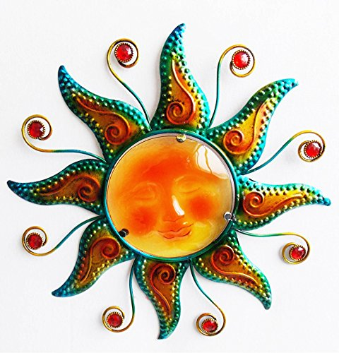 """Comfy Hour 15"""" Red Brown Metal Art Sunface Wall Decor"""