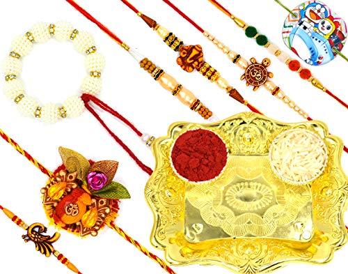 Aashya Mayro Combo of 8 Rakhi for Bhaiya, Bhabhi, Brother Kids and Family Rakshabandhan with Gold Rakhi Thali (B07THVFF7G) Amazon Price History, Amazon Price Tracker